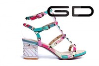 colorful sandles with high heel and rainbow color