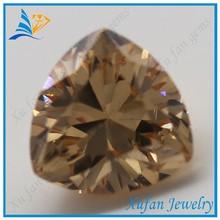 fat triangle shape cubic zirconia champagne glamour cz