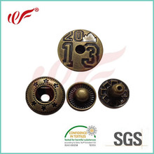 Engraved snap button for garment,four parts snap button in brass