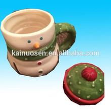 Estilo boneco de neve caneca de cerâmica com tampa de natal hot xícara de cacau