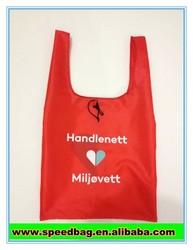 Red customize LOGO print shopping bag nylon foldable shopping bag