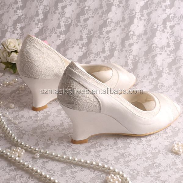 wedge heel bridal shoes wedding pumps ivory open toe view