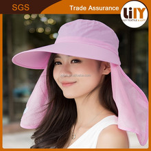2015 hot selling fashional summer cotton wide brim sun protection lady hat