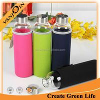 Traveling Glass Drinking Bottle With Lid