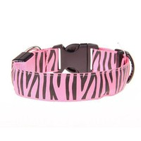 LED Fashion Dog Collar Light Drop Shipping Pet Dog Collar Zebra Pet Nylon Glowing Wholesale Paracord Dog Collar