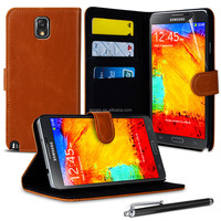High Quality PU leather Wallet case For Samsung Galaxy Note 3 N9003 with free sreen protector and stylus pen