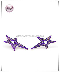 Purple / Crystal / Post / Button / Star / Earring Set