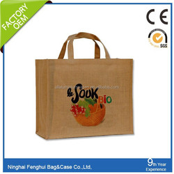 Hot sale silk screen print women bag jute bag