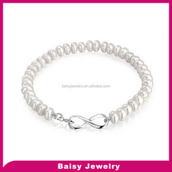 Hot Sale Fashion 925 sterling Silver Freshwater Pearl Bridal Infinity Bracelet