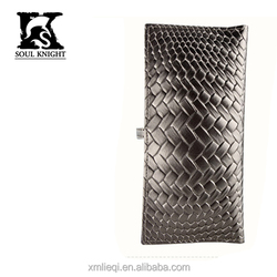 SK-6036 fashion custom woven grain silver leather wallet for ladies