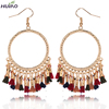 Round Alloy With Colorful Cloth Tassel Women Trendy Earrings