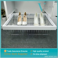 Top sale hanging iron shoe shelf aluminum plated pull out shoe cabinet shoe rack