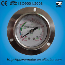 60mm All SS case axial mount pressure gauge of liquid Filled manometer with front flange