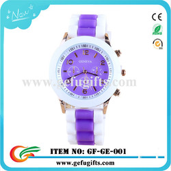 2015 china supplier 12 colors new women geneva watch customized double color strap geneva platinum silicone watch