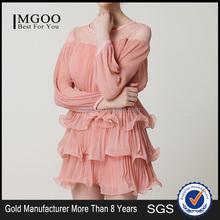 MGOO 2015 High Fashion Women Pink Rolled Up Three Layers Sweet Princess Vestidos Summer Style Dress K0722121