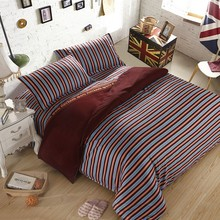blue and brown polyter/cotton fabric china import stripe linens good bedding set
