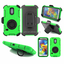 latest high impact hard bumper PC+Silicone hybrid defender case for Samsung Galaxy S5 i9600 with rotate kickstand