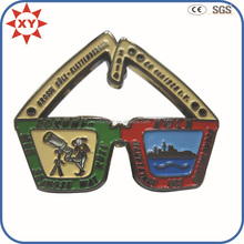 Custom cartoon glasses shape metal badge with soft enamel