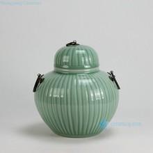 RYKB122-A H10 inch Ceramic Bamboo design with Metal Ring Lid Celadon Green Jar