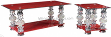 rectangular and square red color living room furniture used together tempered glass coffee table