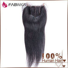 Fabwigs factory direct sell unprocessed natural color tangle free silky straight three part lace closure with baby hair