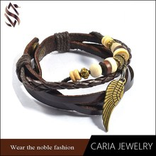 Newest handmade fashion wood beads leather bracelet,adjustable snap button with bass angel wing bracelet