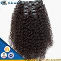 100% de clip afro humano virginal rizado recto en extensiones de cabello para el cabello afroamericano