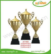 venta al por mayor 2014 personalizada en blanco chapado en oro de trofeos de fabricación