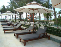 Double roof wood frame wind resistant swimming pool umbrella