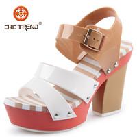 2015 new designs high heels sandals platform melissa shoes pvc jelly sandals cheap plastic shoes