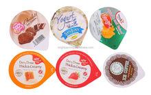 95mm diameter aluminium lid with embossed and print to yogurt cup