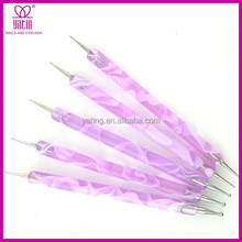 purple 5 pcs set nail art pen Point drill pen