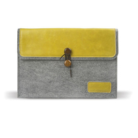 J.M.SHOW Notebook Sleeve Bag Envelope PU Leather Case Wool Felt Sleeve 14 inch for Pro 13 inch(yellow)