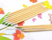 round shape, natural wood hb pencil with green rubber, logo available