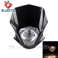 Universal Black StreetFighter Front Headlights H4 12V 35/35W Dirt Bike Motorcycle Fit For XR 230 250 400 650 CR CRF
