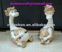 Resina ds50015 patos figura de decoración para el hogar& decoración de la boda