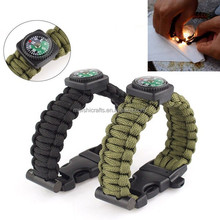 Many colors for choicing Survival Bracelet Paracord Rope with Compass Whistle Flint Fire Starter Kits Hot on sale
