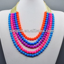 2014 China wholesale fashion jewelry double colored 5 strand matt gold necklace, colorful beaded necklace