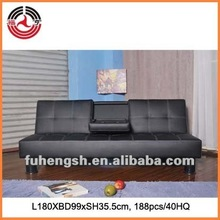 Black Faux leather 3 seats Sofa bed with tea table plastic legs