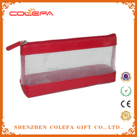 2015 patent leather promotional cosmetic bag trolley mesh makeup bag for travelling
