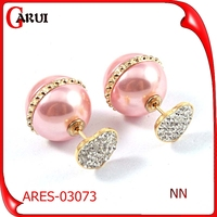 Fashion modeling lovely pink pearl earrings bisuteria china al por mayor
