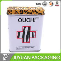 Hot saled custom printed tin box, band-aid tin box with hinge lid and low price