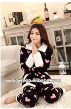 De navidad de vellón suave de venta al por mayor belleza pijamas damas/precioso conjuntos de pijamas para mujeres