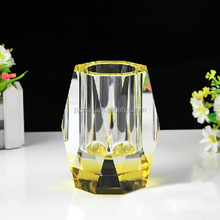 beautiful low price crystal pen holder with color crystal base for office decoration