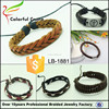 2015 New Products Fashion Bracelet of Leather Handmade Wrap Brown Leather Bracelet Clasp