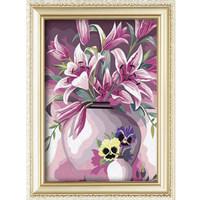 Best selling flower vase pattern handmade oil painting diy painting by numbers