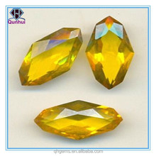 yellow irregular shape facetted gemstone for world cup souvenirs making