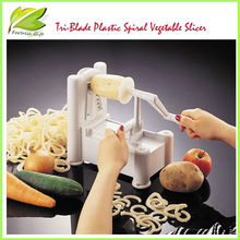High quality amzon supplier multifunction Tri-Blade Plastic Spiral Vegetable Slicer/cutter