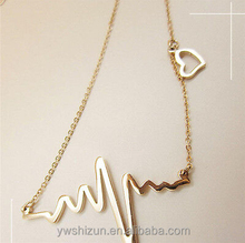 stainless steel jewelry Stylish Women Cute Heart Beat Pendant Necklace Stainless Steel with Chain stainless steel necklace