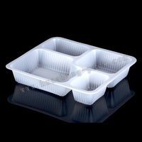 white plastic disposable food grade plastic tray with dividers,disposable lunch tray with dividers